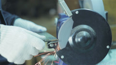 Sparks of light at sharpening metal parts Stock Footage