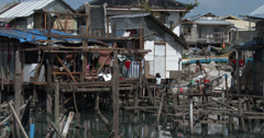 4K / HD Slum Shanty Community Vulnerable Coastal Area - stock footage