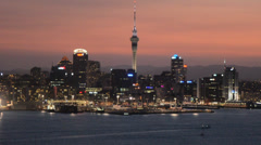 Auckland cityscape at sunset 02 - stock footage