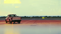 Tow truck at the runway Stock Footage