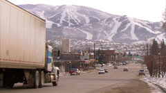Steamboat Springs Traffic Downtown Stock Footage