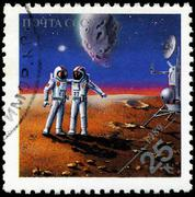 Ussr - circa 1989: stamps printed in russia dedicated to exploration in the s Stock Photos