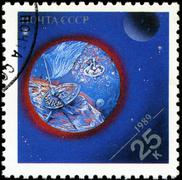 Stock Photo of ussr - circa 1989: stamps printed in russia dedicated to exploration in the s