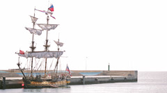 Stock Video Footage of Antique pirate sail ship
