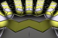 Stock Photo of metal with gold arrow blocks flooring perspective view