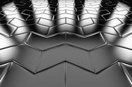 Stock Photo of steel arrow blocks flooring perspective view
