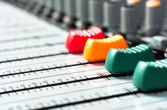 Part of an audio sound mixer with buttons Stock Photos