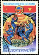 ussr-circa 1980: a stamp printed in ussr, international flights into space, a - stock photo