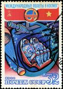 Ussr - circa 1980: a stamp printed by ussr, international space travel, astro Stock Photos
