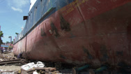 Stock Video Footage of HD Typhoon Haiyan Huge Ship Washed Ashore By Storm Surge