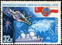 ussr - circa 1978: a postage stamp shows the international flights in the spa - stock photo
