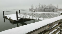 Fraser River Pier Float, Winter, Richmond Stock Footage