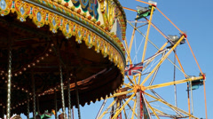 Fun Fair Carousel, Henham Steam Rally, Suffolk, England, United Kingdom Stock Footage