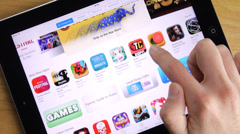 Stock Video Footage of Apps Shopping iPad App Store Tablet