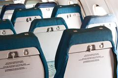Old seats of an annuated airplane - stock photo