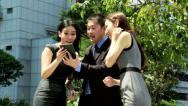 Stock Video Footage of Asian Chinese Business Team Tablet News Success