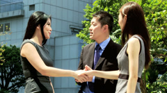Handshake Downtown Meeting Asian Chinese Business People Stock Footage