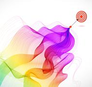 abstract colorful background with arrow hitting a target - stock illustration