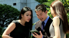 Good News Via Tablet Hot Spot Young Ethnic Business Team Stock Footage