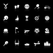 Sport game athletic icons with reflect on black background Stock Illustration