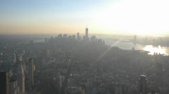 View of Manhatten and the New World Trade Centers under construction Stock Footage