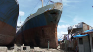 Stock Video Footage of HD Typhoon Haiyan Huge Ships Washed Ashore By Storm Surge