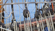 Stock Video Footage of Ropes - Antique pirate sail ship