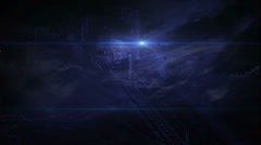 Prison Camp at Night with Fog and Moon, 4K Stock Footage