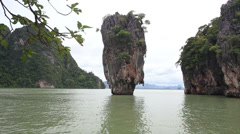James Bond Island in Phang-Nga Bay, locally known as Ko Tapu or Nail Island Stock Footage
