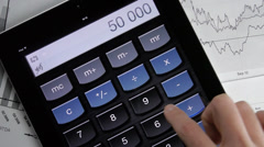 Business Calculation Tablet App Graphics - stock footage