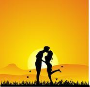 Sunset Kissing silhouette - stock illustration