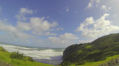 60fps wide pretty shot of the greenery and ocean front at Muriwai Stock Footage