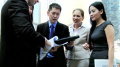 Mini Tablet News Success Multi Ethnic Business Team Congratulations Stock Footage