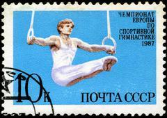 ussr - circa 1987: a stamp printed by ussr shows gymnast, european gymnastics - stock photo