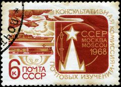 ussr - circa 1968: a stamp printed in ussr shows the mail transport, advisory - stock photo