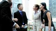 Multi Ethnic Business Team Success Congratulations - stock footage