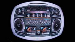 Ghettoblaster radio hifi sequence Stock Footage