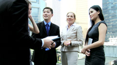 Young Multi Ethnic Business Team Tablet Hot Spot Outdoors Stock Footage