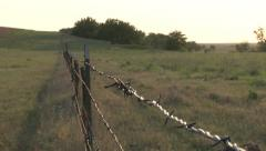 Barbed Wire Fence Stock Footage