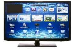 Smart tv with samsung apps and web browser Stock Photos