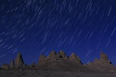 Trona Pinnacles Startrails in Night Sky California USA Stock Photos