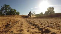 MOTOCROSS RACER EXTREME BLASTING BY CAMERA ON MOTORCYCLE IN HIGH DEFINITION HD - stock footage