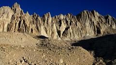 Mt Whitney from base camp in Sierra Nevada Mts California - stock photo