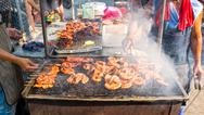 Stock Photo of chitterlings grill street food in thailand