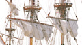 Closed sails - Antique pirate sail ship HD Footage