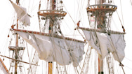 Stock Video Footage of Closed sails - Antique pirate sail ship