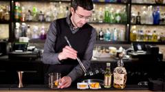Stylish cocktail bar man Stock Footage