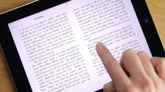 Ebook Reading On iPad Tablet Stock Footage