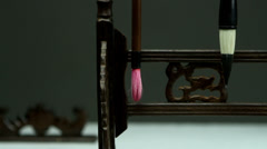 Close-up of the stationary of the Chinese people in the old times and the cage Stock Footage