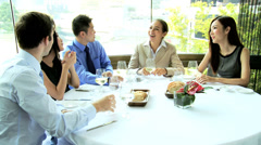 Lunch Meeting Caucasian Consultant Ethnic Business People Stock Footage
